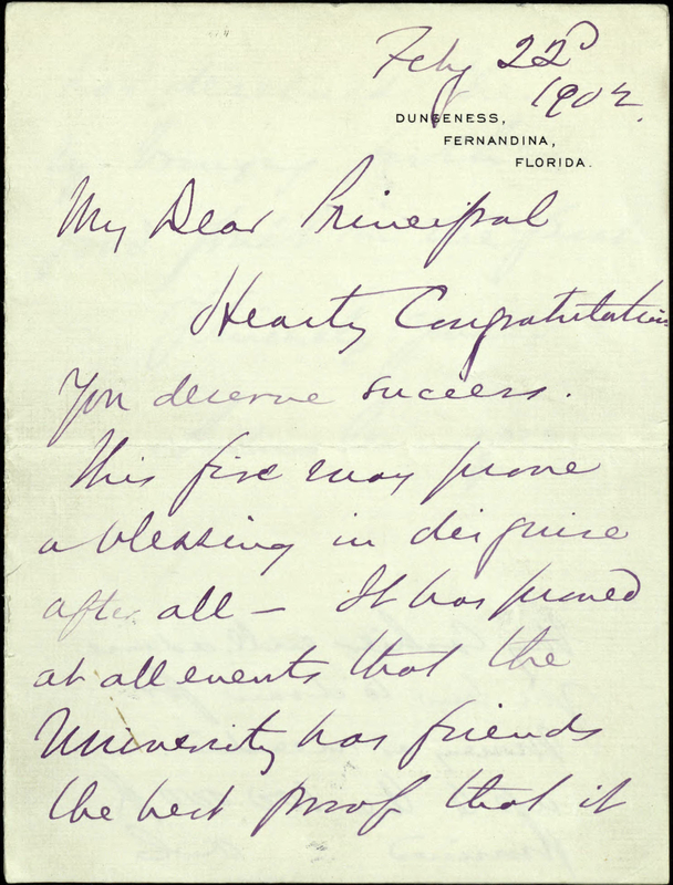 Original Letter from Andrew Carnegie to President Holden Congratulating Him on Reaching the Requirements to Receive $100, 000 1902
