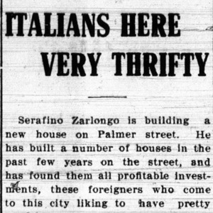 """1910 Daily News Article """"Italians Here Very Thrifty"""""""