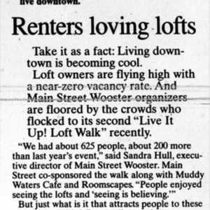 "2007 Daily Record Article, ""Renters Loving Lofts"""