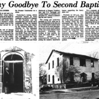 "1975 Daily Record Article, ""Say Goodbye to Second Baptist"""
