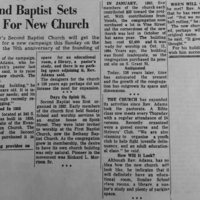 "1964 Daily Record Article, ""Second Baptist Sets Goal For New Church"""