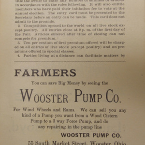 Regulation from the 1893 Wayne County Fair's Premium List