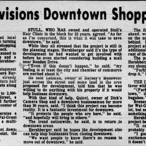 "1985 Daily Record Article, ""Wal-Grant Envisions Downtown Shopping Complex"""