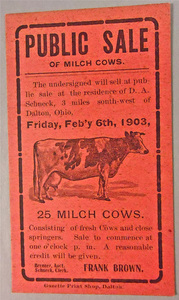 Notice for the Public Sale of Milch Cows