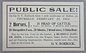 Notice for Public Sale at the D.Y. Roebuck Farm, 1901